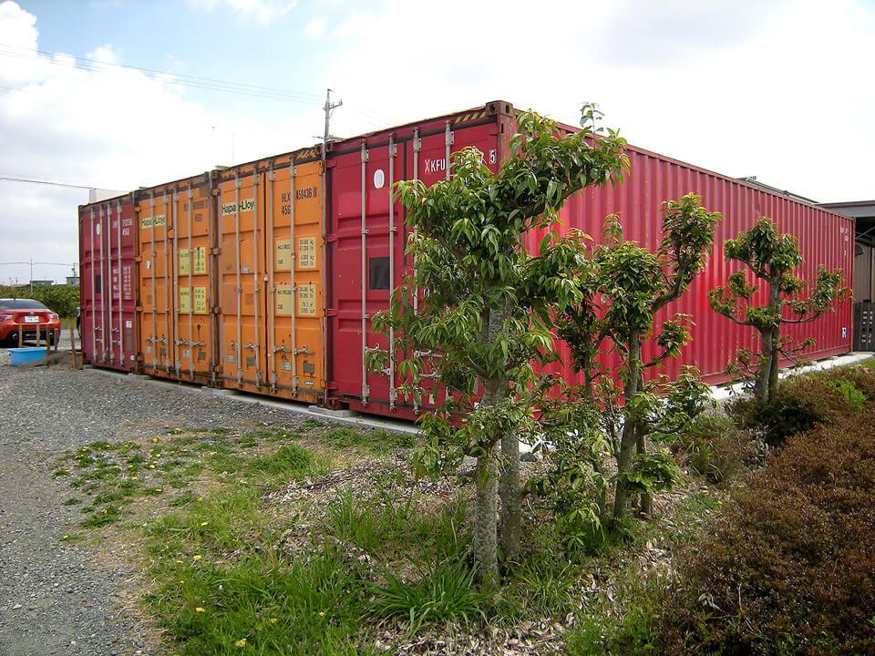 40フィートコンテナ 4連結全面フルシャッターコンテナ倉庫 側面