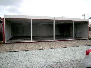 40フィートコンテナ 4連結全面フルシャッターコンテナ倉庫 正面