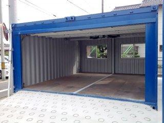 20フィートコンテナを2連結した電動ガレージ付きコンテナ倉庫 フルオープン時