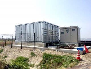 太陽光発電の保管庫としてのコンテナ利用(倉庫用途)外観