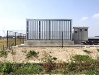 太陽光発電の保管庫としてのコンテナ倉庫利用 正面