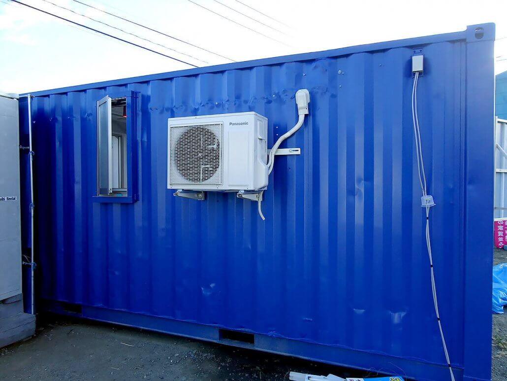 移動式事務所型コンテナハウス(コンテナオフィス)裏側のエアコンの様子