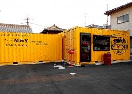 GARAGE M&Y様(山口県岩国市)店舗型コンテナハウス 正面全景