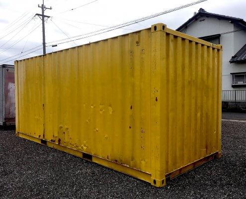 中古海上コンテナ20ft 塗装済み(黄・赤)、現状品  外観