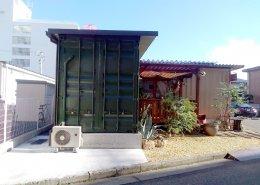 カフェ&植物販売の店舗型コンテナハウス 裏側