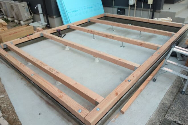 コンテナ設置不可のところに木造ハウス製作 土台