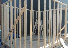 コンテナ設置不可のところに木造ハウス製作 壁枠