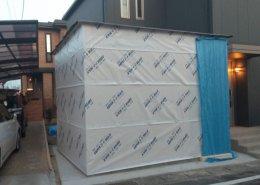 コンテナ設置不可のところに木造ハウス製作 製作中
