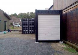 40ft+20ftコンテナ連結のガレージ兼倉庫 シャッター付