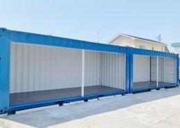 新品のコンテナで作る会社用倉庫(静岡県磐田市) シャッターフルオープン1