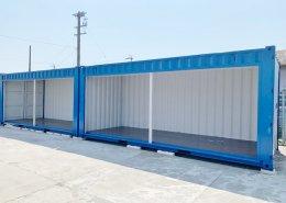 新品のコンテナで作る会社用倉庫(静岡県磐田市) シャッターフルオープン2