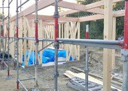 自宅敷地内に資材用の木造ハウス作成 施工中の様子2