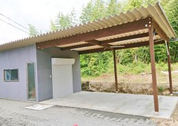 自宅敷地内に資材用の木造ハウス作成 外観2