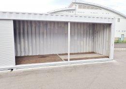 40フィートハイキューブのシャッター付倉庫 シャッターオープン