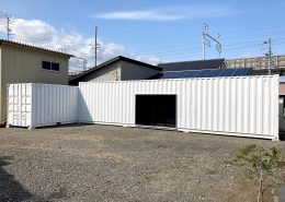 20ft+40ftHCの組み合わせ!L字コンテナ倉庫(岐阜県) 全景