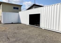 20ft+40ftHCの組み合わせ!L字コンテナ倉庫(岐阜県) 引き戸入り口