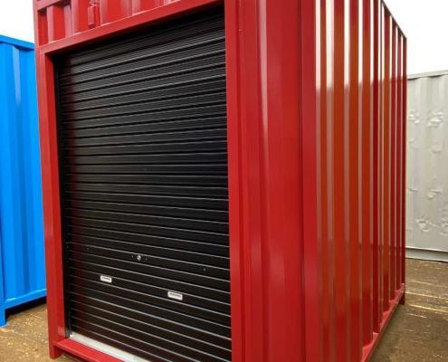 バイクガレージ用コンテナ(赤)・棚付き シャッター黒